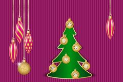 Christmas greeting card. Christmas decorations and fir tree. Vector illustration EPS10 Stock Photography