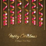 Christmas greeting card. With colorful serpentine ribbons. Vector Illustration Royalty Free Stock Photography
