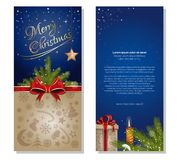 Christmas greeting card. Festive banner with design elements for Christmas and New Year. Vector flyer template Royalty Free Stock Photography