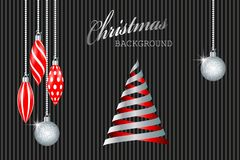 Christmas greeting card. Silver christmas decorations and ribbons fir tree. Vector illustration EPS10 Stock Image