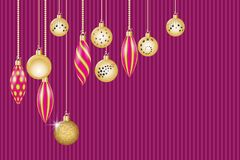 Christmas greeting card. Golden christmas decorations. Vector illustration EPS10 Stock Images