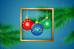 Christmas greeting card. Golden frame decorated with christmas balls and fir-tree branches. Vector illustration EPS10 Royalty Free Stock Photo