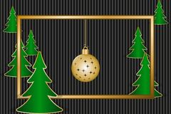 Christmas greeting card. With golden frame, decoration and fir trees. Vector illustration EPS10 Stock Photography
