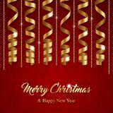 Christmas greeting card. With golden serpentine ribbons. Vector Illustration Stock Photos