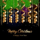 Christmas greeting card. With golden serpentine ribbons. Vector Illustration Royalty Free Stock Image