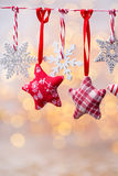 Christmas greeting card with christmas rustic decorations. Royalty Free Stock Photos