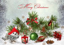 Christmas greeting card with Christmas toys and pine branches Stock Photo