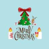 Christmas Greeting Card with Christmas tree and Christmas decora Stock Photography