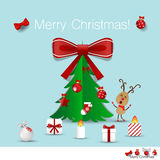 Christmas Greeting Card with Christmas tree and Christmas decora Royalty Free Stock Images