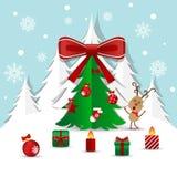 Christmas Greeting Card with Christmas tree and Christmas decora Stock Photos