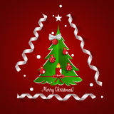 Christmas Greeting Card with Christmas tree and Christmas decora Royalty Free Stock Photo
