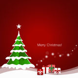 Christmas Greeting Card with Christmas tree and Christmas decora Stock Images