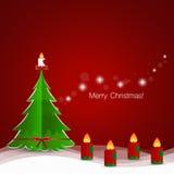 Christmas Greeting Card with Christmas tree and Christmas decora Stock Image