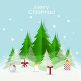 Christmas Greeting Card with Christmas tree and Christmas decora Stock Photo