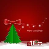 Christmas Greeting Card with Christmas tree and Christmas decora Royalty Free Stock Photos