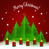 Christmas Greeting Card with Christmas tree and Christmas decora Royalty Free Stock Photography