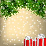 Christmas  Greeting card with Christmas tree and gifts Stock Image