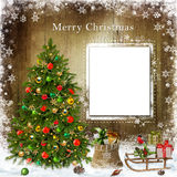 Christmas greeting card with Christmas tree and gifts Royalty Free Stock Photo