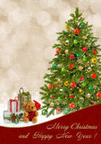 Christmas greeting card with Christmas tree and gifts Royalty Free Stock Photography