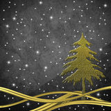 Christmas greeting card, Christmas tree gold. Christmas greeting card, Christmas tree and golden wavy lines on gray background with stars Royalty Free Stock Photos