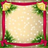 Christmas  Greeting card with Christmas tree and jingle bells Stock Image
