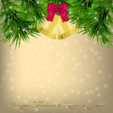 Christmas  Greeting card with Christmas tree and jingle bells. Golden Christmas and New Year Greeting card with Christmas tree, snowflakes and jingle bells Royalty Free Stock Images