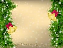 Christmas  Greeting card with Christmas tree and jingle bells Stock Photos