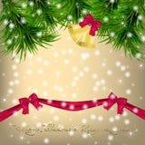 Christmas  Greeting card with Christmas tree and jingle bells Stock Photography