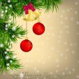 Christmas  Greeting card with Christmas tree and jingle bells. Golden Christmas and New Year Greeting card with Christmas tree, snowflakes, red Christmas balls Stock Photo