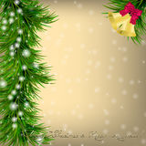 Christmas  Greeting card with Christmas tree and jingle bells. Christmas and New Year Greeting card with Christmas tree, jingle bells and bow Stock Images
