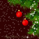 Christmas  Greeting card with Christmas tree and jingle bells Royalty Free Stock Images