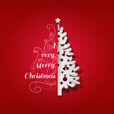 Christmas greeting card with christmas tree and Merry Christmas type pattern decoration vector illustration