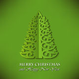 Christmas Greeting Card with Christmas tree Royalty Free Stock Photo