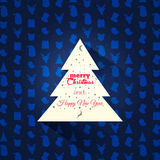 Christmas greeting card. Christmas tree on a pattern background. Royalty Free Stock Image