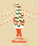 Christmas greeting card with Christmas tree in retro style. Happy new year Stock Photos
