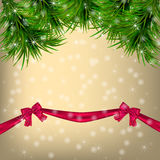 Christmas  Greeting card with Christmas tree and ribbons Royalty Free Stock Photo