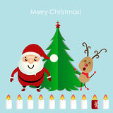 Christmas Greeting Card with Christmas tree, Santa Claus and rei Royalty Free Stock Photos