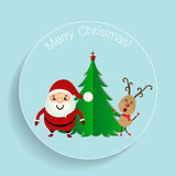 Christmas Greeting Card with Christmas tree, Santa Claus and rei Royalty Free Stock Images