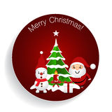 Christmas Greeting Card with Christmas tree, Snowman and Reindee. R. Vector illustration Stock Photos