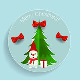 Christmas Greeting Card with Christmas tree and Snowman. Vector. Illustration Royalty Free Stock Images
