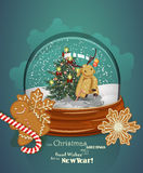 Christmas greeting card with Christmas tree in sphere in retro style. Royalty Free Stock Photo