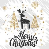 Christmas greeting card. Christmas trees covered with snow, deer, lettering Merry Christmas vector illustration