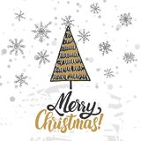 Christmas greeting card. Christmas trees covered with snow, snowflakes, patterns, lettering - Merry Christmas vector illustration