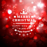 Christmas greeting card with Christmas typography , bokeh  vector background. Stock Photo