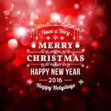 Christmas greeting card with Christmas typography , bokeh  vector background. Stock Image