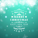 Christmas greeting card with Christmas typography Royalty Free Stock Photo