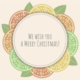 Christmas greeting card with citrus slice royalty free illustration