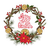 Christmas greeting card with citrus,spice.Doodles Stock Images