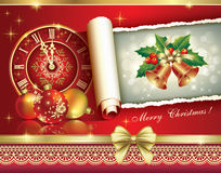 Christmas greeting card 2014 with a clock and ball. 2014 Christmas card with clock and balls in the decoration Stock Images