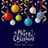 Christmas greeting card with Xmas balls Stock Images